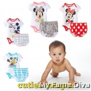 Cutie Cartoon (Short Sleeve) Romper with Diaper Panties by CutiesDiva