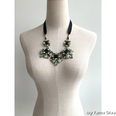 Jade Diamante Strap Necklace