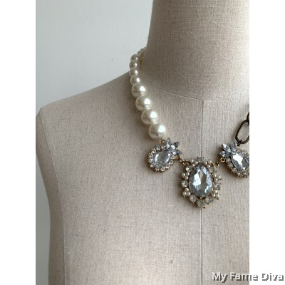 Twist Pearl & Chain Necklace