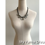 Yena Diamante Rugged Strap Necklace
