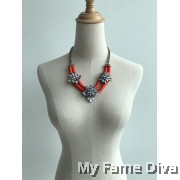 Coastal in Red Chain Choker Necklace