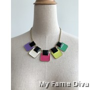 Colorful Rainbow Bracket Chain Necklace
