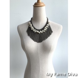 Goddess Chain Tassels Necklace with Pearl