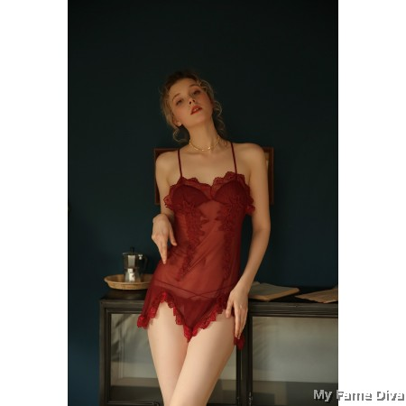 Sheer n Sexy : CHERRIE Embroidered Sheer Babydoll