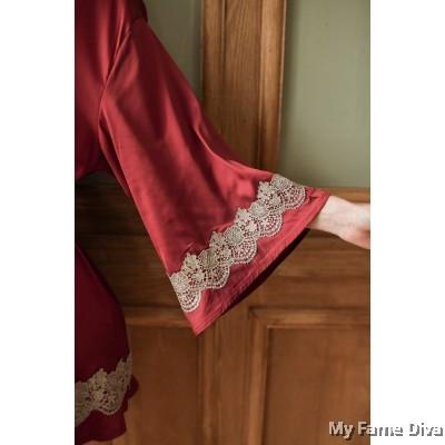 The Satin Collection :  Carly Eyelash Satin Robe