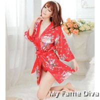 2pcs Oriental Red Bikini with Robe Set