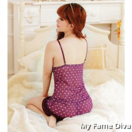 Love Birds : Purple Ruffle PolkaDot Lingerie