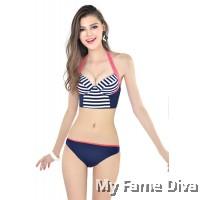 Stylish Chic Longline Stripe Underbust Corset 2pcs Bikini Set