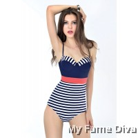 Stylish Chic Longline Stripe Underbust Corset 1pc Swimsuit