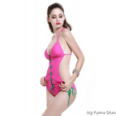 1pc Lace Up Cross Strappy Swimsuit