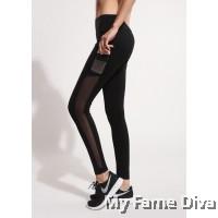 Gabriella Hi-Waist Side Mesh Panel Sport Pants (with Mobile Pocket)
