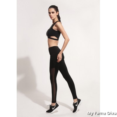 Gabriella Hi-Waist Side Mesh Panel Sport Pants (with Mobile Pocket)