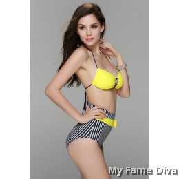 Yellow Navy White Stripped High Waist Bikini Set