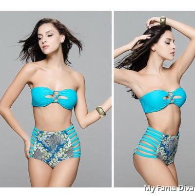 2-way Convertible Tropical Print High-Waist Bikini Set