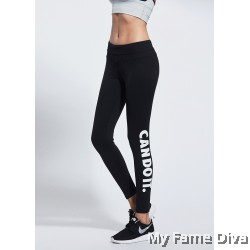 Sport Leggings with Side Print Wording Graphic : Can Do It !