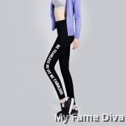 Sport Leggings with Side Print Wording Graphic : Be Fearless !