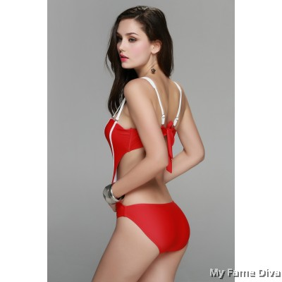 1pc Strappy Bustier Swimsuit
