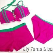 3pcs Strappy Underbust Bikini & Bottom Set with Jewel