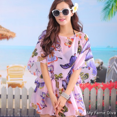Cover-Up Beachwear in Butterfly Print