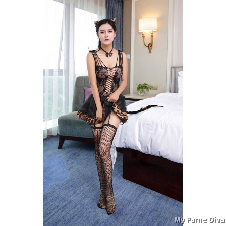 #TRENDING 2in1 Bodystocking with Playboy Bunny Costume