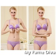 Magic Plunge Bra Set with Charming Lacey Back - PURPLE SET (Wireless)