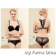 Magic Plunge Bra Set with Charming Lacey Back - BLACK SET (Wireless)