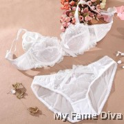 Beyond Mesh Sweetie Lacey Bra Set - White