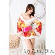 Oriental Kimono Autumn Floral in Black Fantasy Lingerie