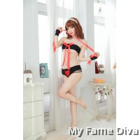 Devilish Heart Ribbon Tube Bra set