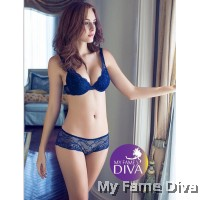 Plunge-fully Lacey Bra set - Mysterious Blue