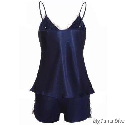 Satin D'Fleur Camisole Pajamas Short Set