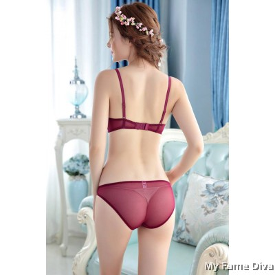 Mesh Romance Bra Set - RED WINE