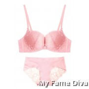 Lace Bustier Wireless Push-up Bra set - PINK (Wireless)