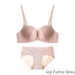 Lace Bustier Wireless Push-up Bra set - NUDE