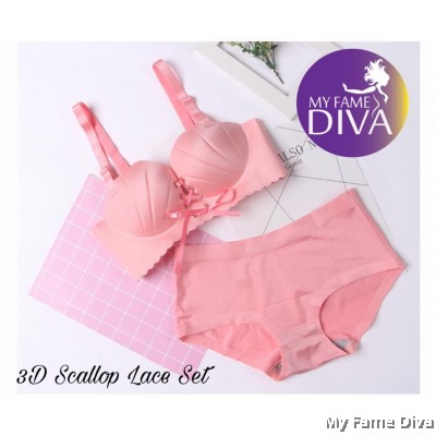 3D Scallop Lace Set - PINK