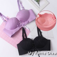 fdbbbbabc4 Lace Bustier Wireless Push-up Bra set - PINK