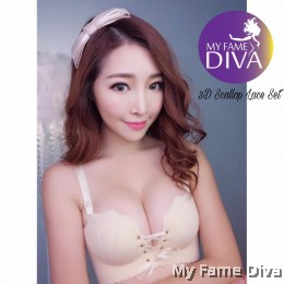 3D Scallop Lace Set - BEIGE (Wireless)