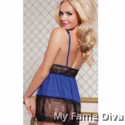 PLUS SIZE : Lacey Mesh in Deep-V