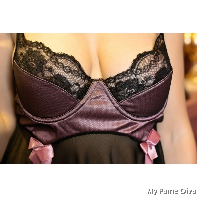 PLUS SIZE : Mesh Through Bustier Ribbon Babydoll