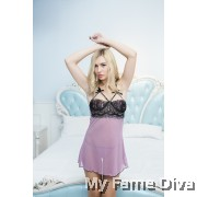 PLUS SIZE : Sweetie Babydoll in Open-Bust Lilac
