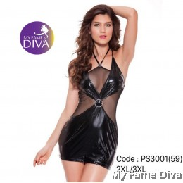 PLUS SIZE : Sexy Leather Clubwear Dress