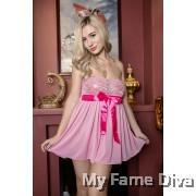 PLUS SIZE : Sweetie Babydoll Ribbon Tube Dress