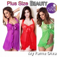 PLUS SIZE : Sexy Open Flair with Halter Neck Babydoll