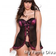 PLUS SIZE : Bustier Satin Open-Flair Babydoll