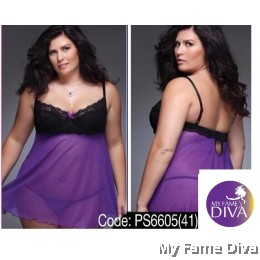 PLUS SIZE : Sweetie Black in Mesh