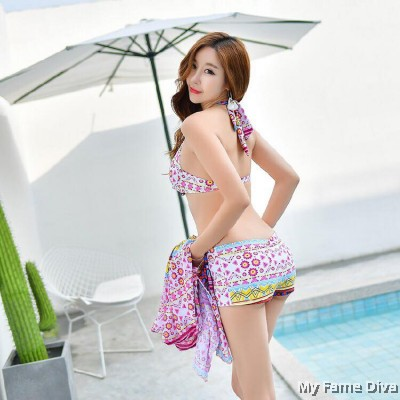 Graffiti Print in Bikini + Beach Dress set