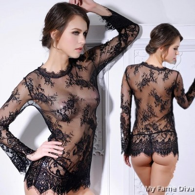 Sheer n Sexy : Babydoll in Eyelace Mesh Long Sleeve