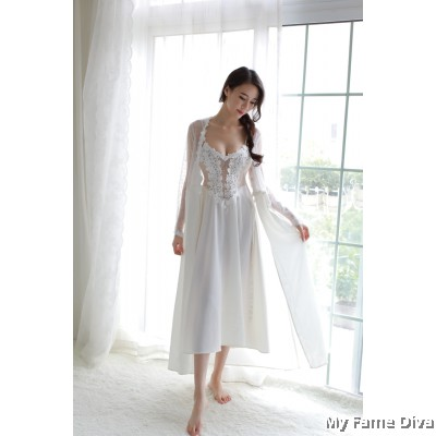 The Satin Collection : Ballerina-inspired Sheer n Sexy Long Robe & Dress