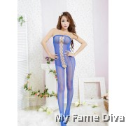 Bodystocking : Off Shoulder Crossing Crotchless