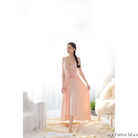 The Satin Collection : Ballerina-inspired Sheer n Sexy Long Robe (Robe Only)